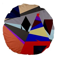 Geometrical abstract design Large 18  Premium Round Cushions