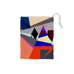 Geometrical abstract design Drawstring Pouches (Small)