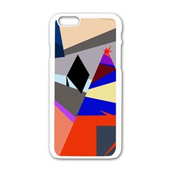 Geometrical abstract design Apple iPhone 6/6S White Enamel Case