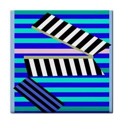 Blue lines decor Tile Coasters