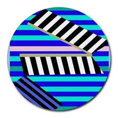 Blue lines decor Round Mousepads
