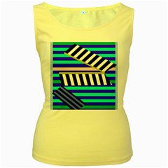 Blue lines decor Women s Yellow Tank Top