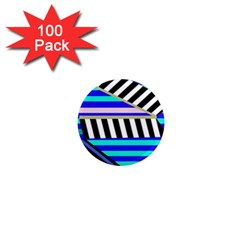 Blue lines decor 1  Mini Magnets (100 pack)