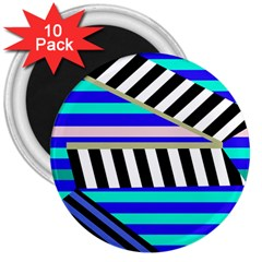 Blue lines decor 3  Magnets (10 pack)