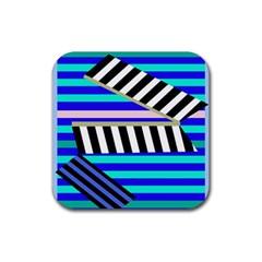 Blue lines decor Rubber Coaster (Square)