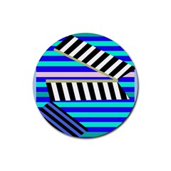Blue lines decor Rubber Coaster (Round)