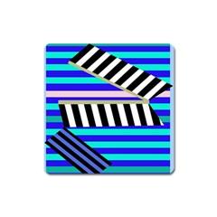 Blue lines decor Square Magnet
