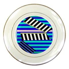 Blue lines decor Porcelain Plates