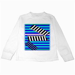 Blue lines decor Kids Long Sleeve T-Shirts