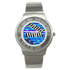 Blue lines decor Stainless Steel Watch