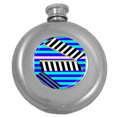 Blue lines decor Round Hip Flask (5 oz)