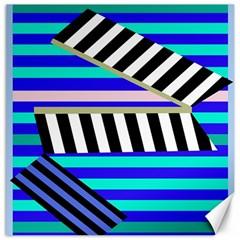 Blue lines decor Canvas 12  x 12