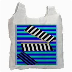Blue lines decor Recycle Bag (Two Side)