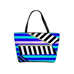 Blue lines decor Shoulder Handbags