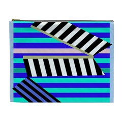 Blue lines decor Cosmetic Bag (XL)