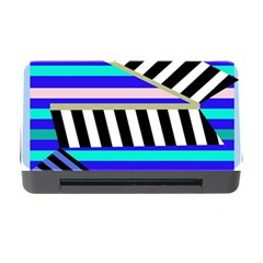 Blue lines decor Memory Card Reader with CF