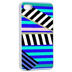 Blue lines decor Apple iPhone 4/4s Seamless Case (White)