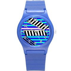 Blue lines decor Round Plastic Sport Watch (S)