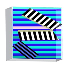 Blue lines decor 5  x 5  Acrylic Photo Blocks