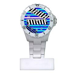 Blue lines decor Plastic Nurses Watch
