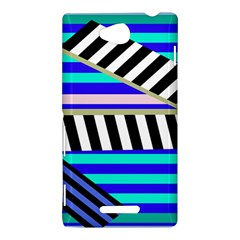Blue lines decor Sony Xperia C (S39H)