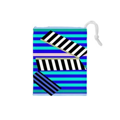Blue lines decor Drawstring Pouches (Small)