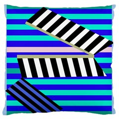 Blue lines decor Large Flano Cushion Case (One Side)