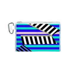 Blue lines decor Canvas Cosmetic Bag (S)