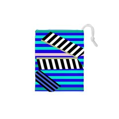 Blue lines decor Drawstring Pouches (XS)