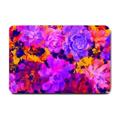 Purple Painted Floral and Succulents Small Door Mat