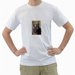 Cornish Rex, Blue Men s T-Shirt (White) (Two Sided)