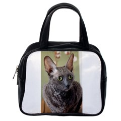 Cornish Rex, Blue Classic Handbags (One Side)