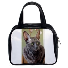 Cornish Rex, Blue Classic Handbags (2 Sides)