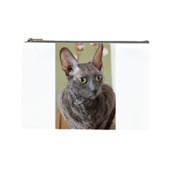Cornish Rex, Blue Cosmetic Bag (Large)