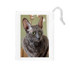 Cornish Rex, Blue Drawstring Pouches (Large)