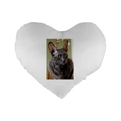 Cornish Rex, Blue Standard 16  Premium Flano Heart Shape Cushions
