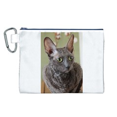 Cornish Rex, Blue Canvas Cosmetic Bag (L)
