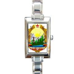 National Emblem Of Romania, 1965 1989  Rectangle Italian Charm Watch