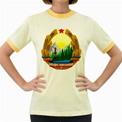 National Emblem Of Romania, 1965 1989  Women s Fitted Ringer T Shirts