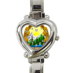 National Emblem Of Romania, 1965 1989  Heart Italian Charm Watch
