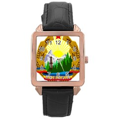 National Emblem Of Romania, 1965 1989  Rose Gold Leather Watch