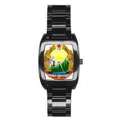 National Emblem Of Romania, 1965 1989  Stainless Steel Barrel Watch