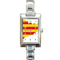 Flag Map Of Catalonia Rectangle Italian Charm Watch