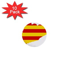 Flag Map Of Catalonia 1  Mini Buttons (10 Pack)