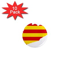 Flag Map Of Catalonia 1  Mini Magnet (10 Pack)