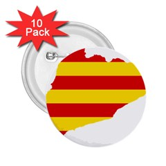 Flag Map Of Catalonia 2 25  Buttons (10 Pack)