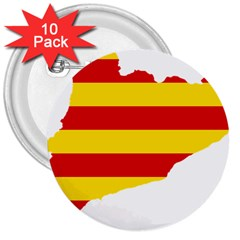 Flag Map Of Catalonia 3  Buttons (10 Pack)