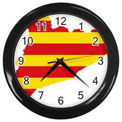 Flag Map Of Catalonia Wall Clocks (black)