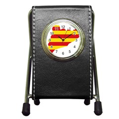 Flag Map Of Catalonia Pen Holder Desk Clocks