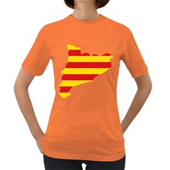 Flag Map Of Catalonia Women s Dark T Shirt